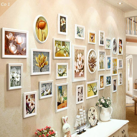 28 Pieces/Set Photo Frames Wood Photo Frames For Picture Wooden Frames For Wall Marcos Para Fotos Home Decoration Combination