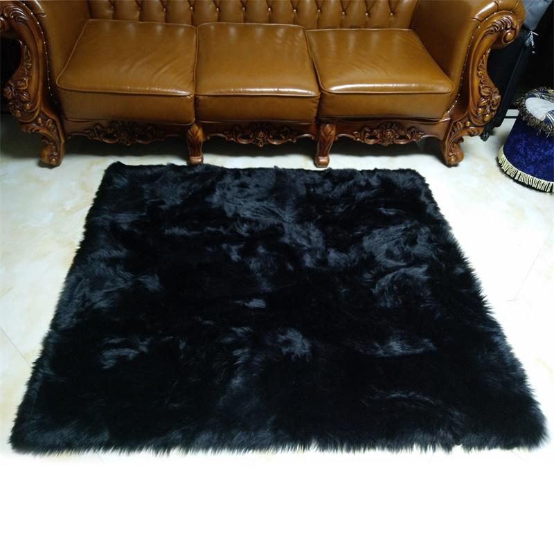 $396.00- Black Faux Sheepskin Fluffy Hairy Fur Chair Seat Sofa Cover Rectangle Square Decorative Carpet Prop Mat Area Rug Living Bedroom