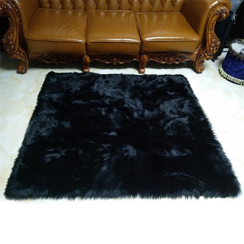 $24.82- Black Faux Sheepskin Fluffy Hairy Fur Chair Seat Sofa Cover Rectangle Square Decorative Carpet Prop Mat Area Rug Living Bedroom