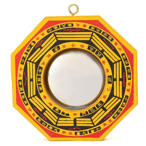 Chinese Feng Shui Dent Concave Bagua Pakua Wooden Mirror For Lucky Blessing Home Wall Decorative