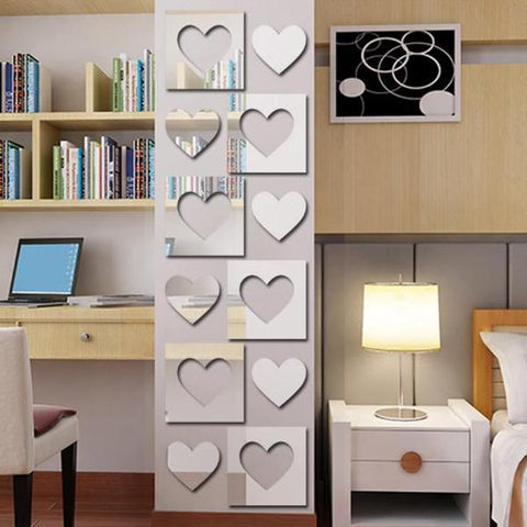 3D Square Heart Film Diy Mirror Wall Stickers Home Wall Bedroom Office Decor Wallpaper Art Decal Plastic High Quality Sticker
