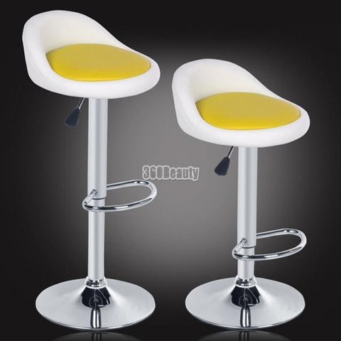 Homdox 2Pcs Synthetic Leather Rotating Adjustable Height Bar Stool Chair Stainless Steel Stent 4 Colors N1020
