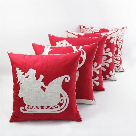 $17.97- Cotton Canvas Wool Embroidered Christmas Series Santa Snowflake Vintage Decorative Throw Pillow Pillowcase Cushions Home Decor