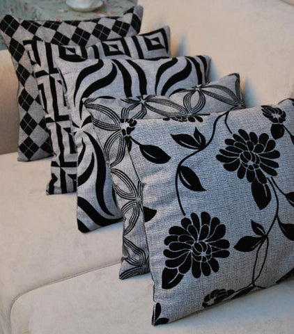 $11.63- 60Cm Double Side Black Gray Flower Flocked Imitation Linen Silk Cushion Cover Retro Decorative Throw Pillows Pillowcase For Sofa