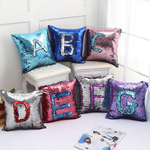 $13.17- Hot ing Fashion Personality Chameleon Pillowcase Mermaid Two Color Sequin Mosaic Decorative Cushion Cover Pillow Home Decor