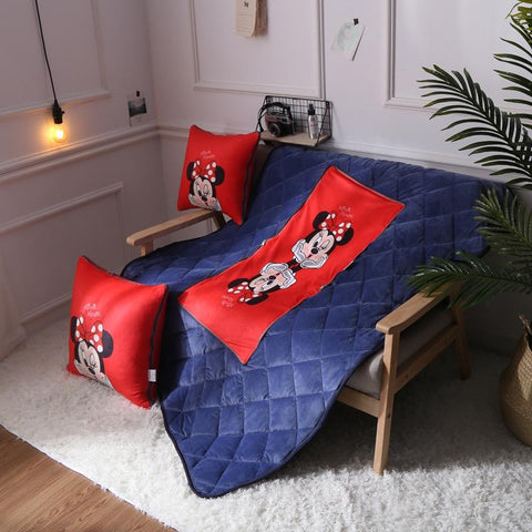 $79.99- 50Cm Square Cushion Blankets Beauty Minnie Sofa Decoraion Pillow Blanket Dual Purpose Summer Bayby Flannel Quilt Birthday Gift