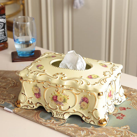 Ivory Porcelain European Tissue Box Luxury Retro Home Pumping Cartons Decorations Wedding Housewarming Gifts Ornaments
