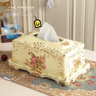 $86.02- Ivory Porcelain European Tissue Box Luxury Retro Home Pumping Cartons Decorations Wedding Housewarming Gifts Ornaments