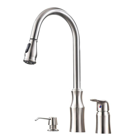 $168.67- Commercial High Arc Stainless Steel Single Handle Pull Down Kitchen Faucet Brushed Nickel Kitchen Sink Faucet with Soap Dispense