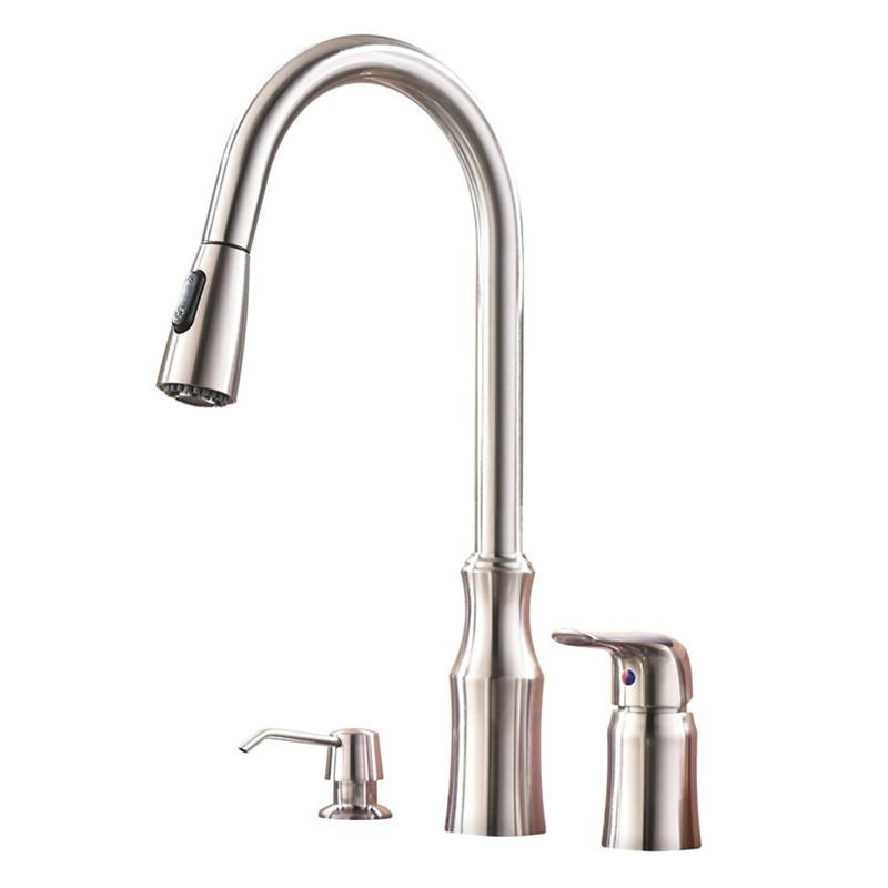 $168.67- Modern High Arc Stainless Steel Single Handle Pull Down Kitchen Sink Faucet Brushed Nickel Kitchen Fauce with Soap Dispenser