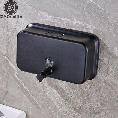 $85.63- Brass Black Liquid Soap Dispenser Bathroom Kitchen Stainless Steel Touch Soap Dispenser Wall Mounted 1000Ml