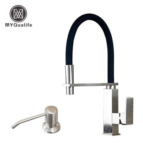 Good Quality Brushed Nickel Kitchen Faucet Mixer Taps W/ Holder Bar Deck Mounted Single Handle Hole Soap Dispenser