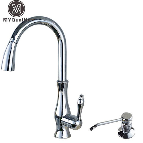 $187.94- Bright Chrome Pull Out Kitchen Faucet Deck Mounted Single Handle W/ Hot Cold Mixer Taps Stainless Steel Soap Dispenser