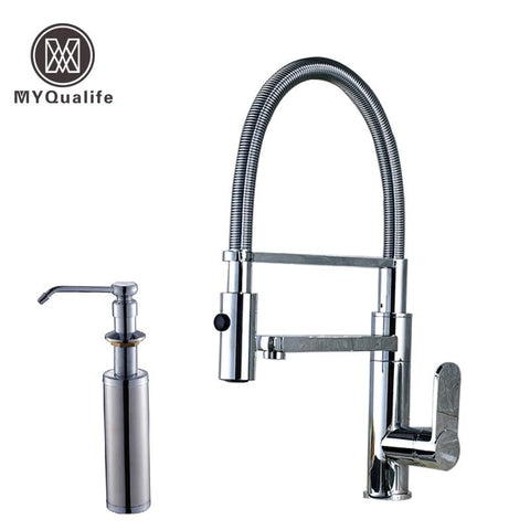 $174.08- Polished Chrome Deck Mounted Bathroom Kitchen Faucet Tap Single Handle W/ Brass Soap Dispenser