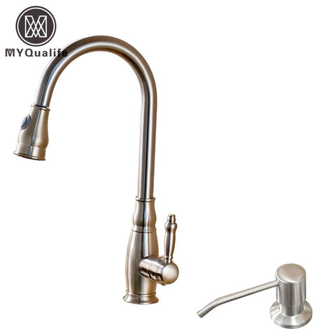$149.21- Good Quality Single Lever Bathroom Pull Out Kitchen Sink Faucet Deck Mounted W/ Soap Dispenser Hot Cold Mixer Taps