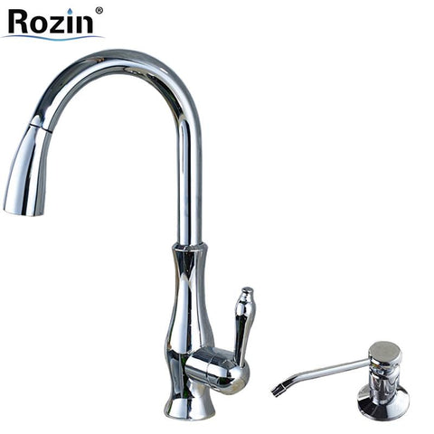 $182.33- Bright Chrome Pull Out Kitchen Faucet Deck Mounted Single Hole Kitchen Sink Mixer Taps W/ 220 Ml Soap Dispenser