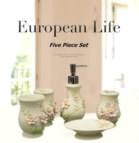 $41.04- European Life Five Pieces Set Bathroom Accessorries Set Liquid Soap Dispenser Porcelain Soap Toothbrush Holder Home Decoration