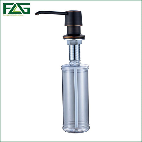 Flg Liquid Soap Dispensers For Kitchen Sink Deck Mounted Copper&Plastic Bottle Manually Shampoo Oil Rubbed Soap Dispenser 020B
