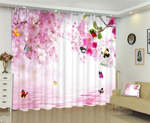 $177.06- Butterfly Flowers Print 3D Curtains Drapes For Living Room Bed Room Office Hotel Home Wall Tapestry Custom Window Curtains