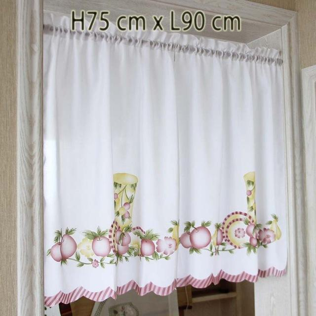 Buy New Cafe Short Kitchen Curtains Fruits Design Embroidery Lace ...