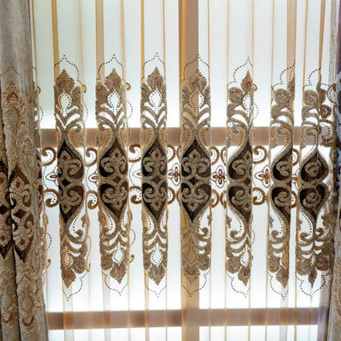 $63.00- European Chenille Embroidered Gauze Chenille Silk Window Curtain Living Room / Bedroom Sunshade Window Handle Home Decoration