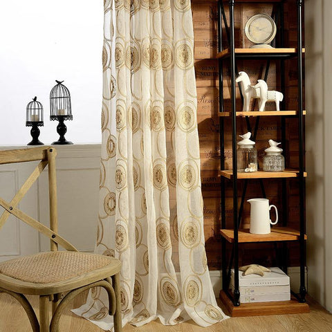 Circle Embroidered Modern Screens Tulle Curtains For Bedroom Sheer Window Curtain Rideau Voilage Rideaux Pour Le Salon Cortinas