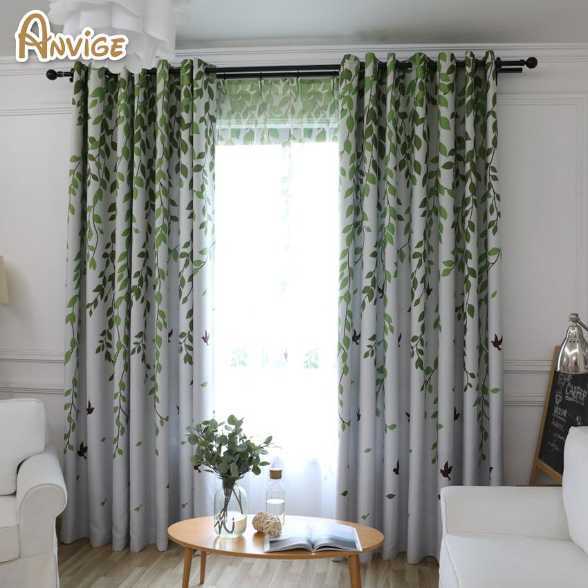 Anvige Pastoral Leaf Printed Blackout Curtains Window Treatment Curtain Home Decoration Fashion Fabrics For Curtains Living R