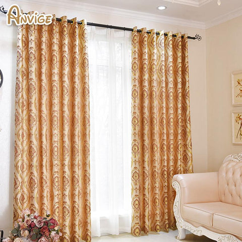$45.45- Luxury Room Curtains For Living Room Embroidered Blackout Curtain Bedroom Window Curtain