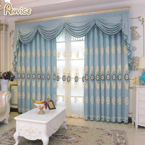 $40.99- Luxury Curtain For Bedroom Kitchen Curtains For Living Room Window Curtain W/ Valance Blue Color Cortina