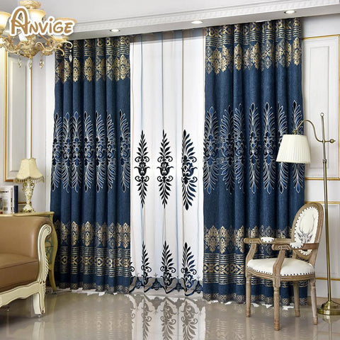 $49.30- Anvige Europe Style Curtains Luxury Embroidered Curtains For Living Room Modern Window Curtain For Bedroom
