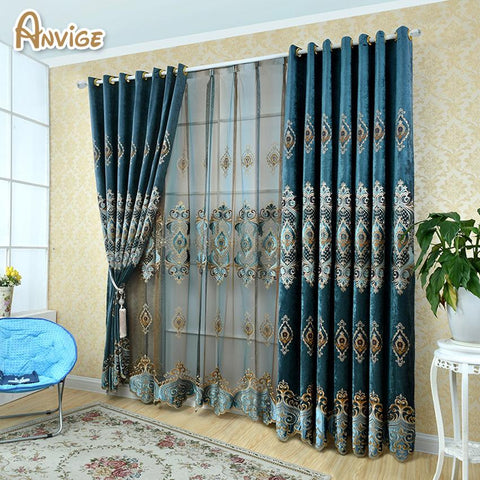 $49.30- Anvige European Blue Color Royal Luxury Curtains For Bedroom Window Curtains For Living Room Elegant Drapes Curtains