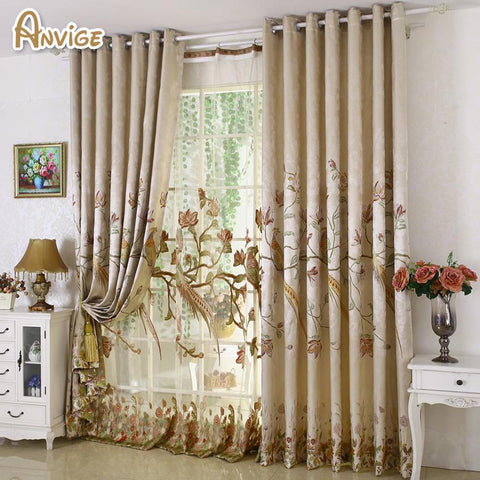 $49.01- Luxury High Precision Embroidered Blackout Curtains For Living Room Jacquard Drapes European Window Treatments
