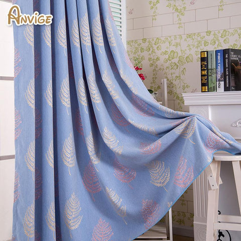 $49.90- Anvige Modern Chenille Leaf Pattern Curtain Blackout Curtains Window Treatments Thick Fabric Custom Made Curtain Drapes