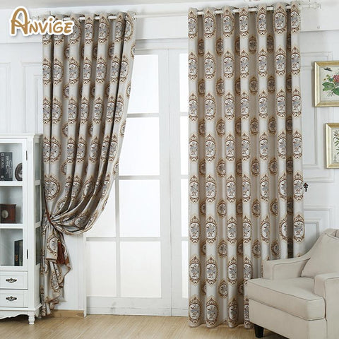 $46.91- Anvige Embroidered Jacquard Blackout Curtains Window Treatments High Quality Cloth Custom Made Curtain Drapes