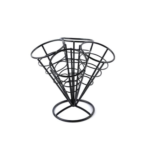 $29.52- 4In1 French Fry Stand Cone Basket Holder Black Iron Rack Ice Cream Shape Food Shelves Bowl Kitchen Potato Fries Chips Appetizers