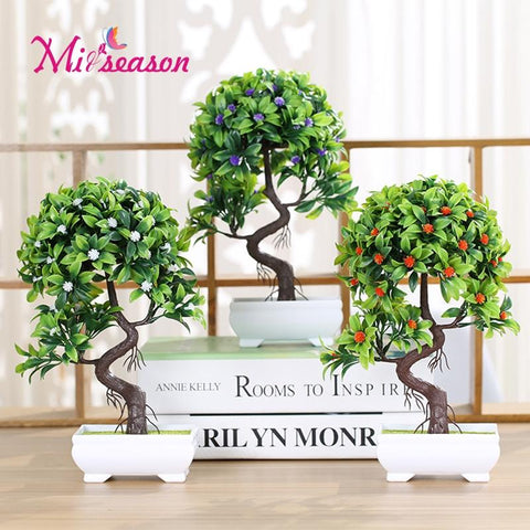 $14.51- 1Set Wedding Decorative Sakura Flowers/Tree Bonsai Artificial Flower Trigeminal Potted Bonsai Fake Plant Pine Tree Home Decor