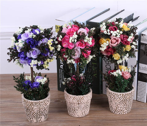 Artificial Silk Rose Flowers BonsaiCeramic Vase Fake Plants W/ Artificia Potted Flower Balls Centerpieces Wedding Decoration