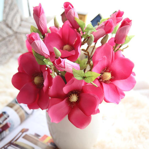$4.19- Single Branch Artificial Silk Mangnolia Flowers For Wedding Decoration Party Fake Plants Flower Floral Wreath Home Diy Supplies