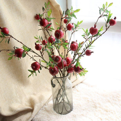 $12.33- 5 Heads Artificial Pomegranate Plastic Fruit Branch Artificial Green Plant Flowers For Wedding Home Garden Decoration Fake Plant