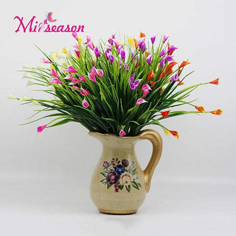 $2.57- 7 Branches Beautiful 25 Heads/Bouquet Mini Artificial Calla W/ Leaf Silk Fake Lily Aquatic Plants Home Room Decoration Flower