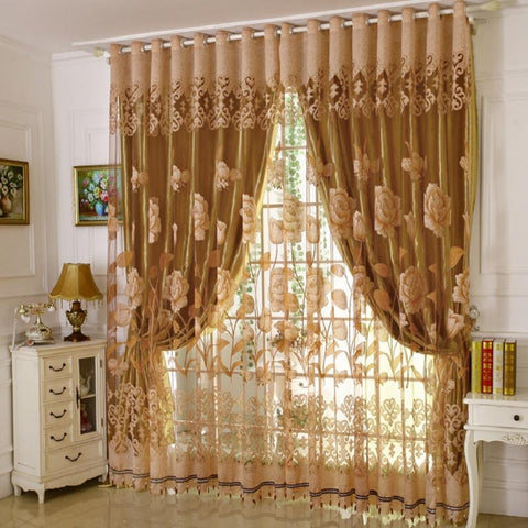 $61.72- 1 Pc Curtain 1 Pc Tulle Luxury Burnout Window Curtains Set For Living Room European Blackout Curtains For The Bedroom