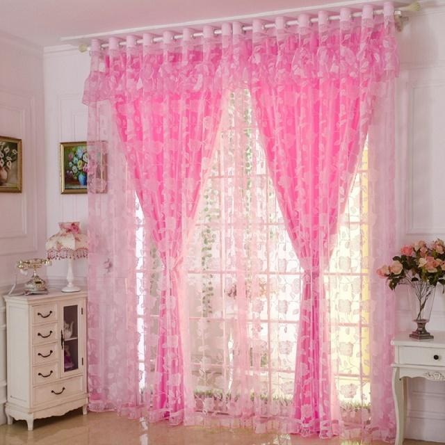1 Pc Blackout Curtain 1 Pc Tulle Window Curtains Set For Living Room Pastoral Burnout Curtains For The Bedroom Decoration