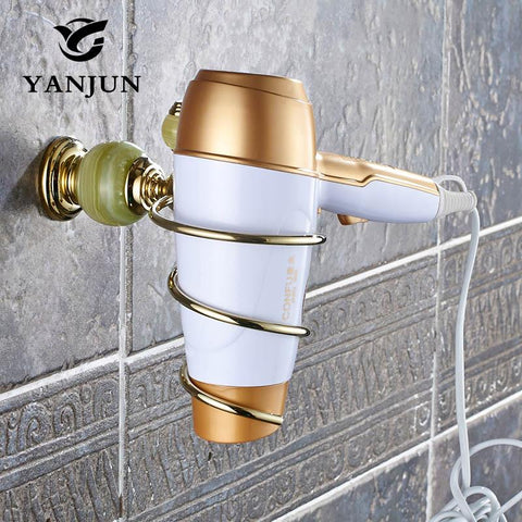 Yanjun European Style Brass Jade Stone Golden Wall Mounted Hairdryer Support Holder Spiral Stand Bathroom Wall Shelf Yj8152