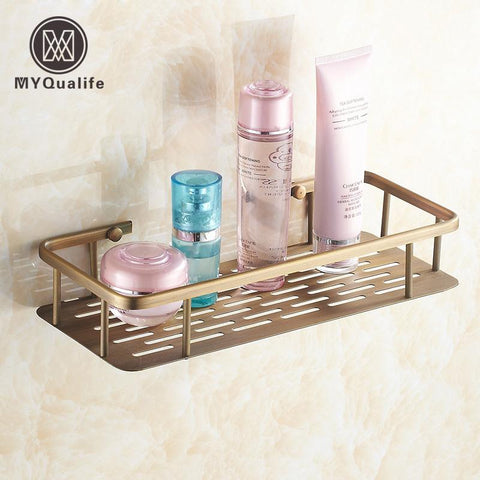 $72.36- Classic Bathroom Cosmetic Holder Wall Mounted Brass Antique Storage Shelf Basket