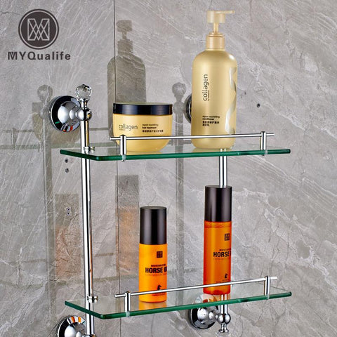 $120.77- Wall Mounted Double Tiers Glass Bathroom Commodity Shelf Chrome Brass W/ Cristal Storage Holder