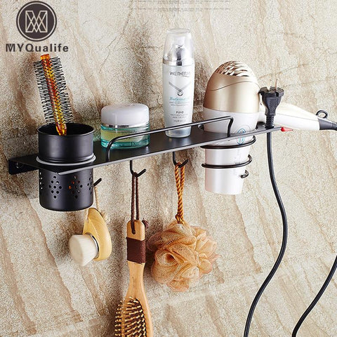 $86.40- Wall Mounted Black Hair Dryer Holder Bathroom Commodity Shelf Stainless Steel Storage Holder