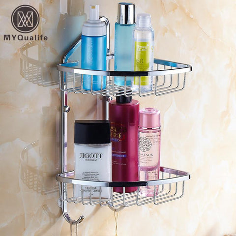 $102.51- Double Shelf Bathroom Wall Storage Basket Cosmetic Storage Rack Shelf Hanging Lavatory Storage Holder