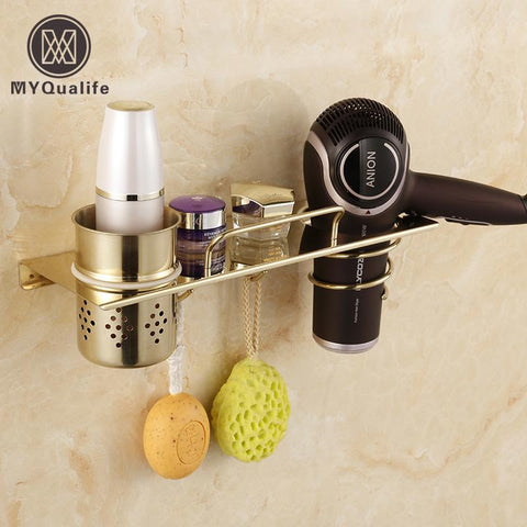 $72.36- Chrome & Golden Wall Mounted Bathroom Storage Holder Hair Dryer Holder Towel Hooks Commodity Shelf