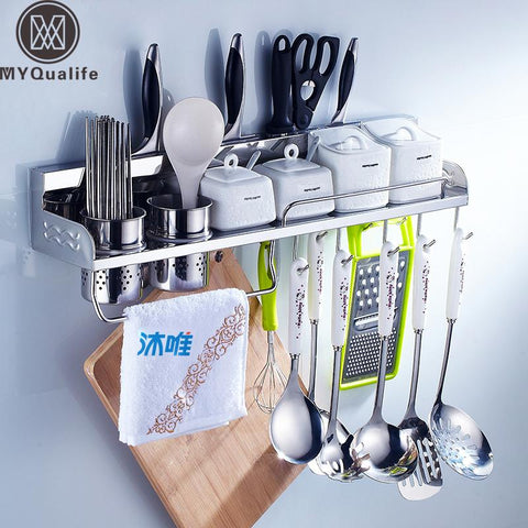 $102.51- MultiFunctions Stainless Steel Kitchen Storage Holder Chrome Wall Mounted Kitchen Shelf Holder Tool Flavoring Rack