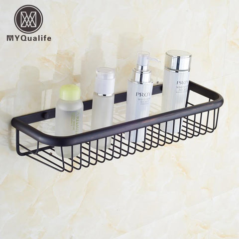 $57.60- Oil Rubbed Bronze Wall Mount Bathroom Storage & Holder Brass Shower Basket Shelf 45Cm